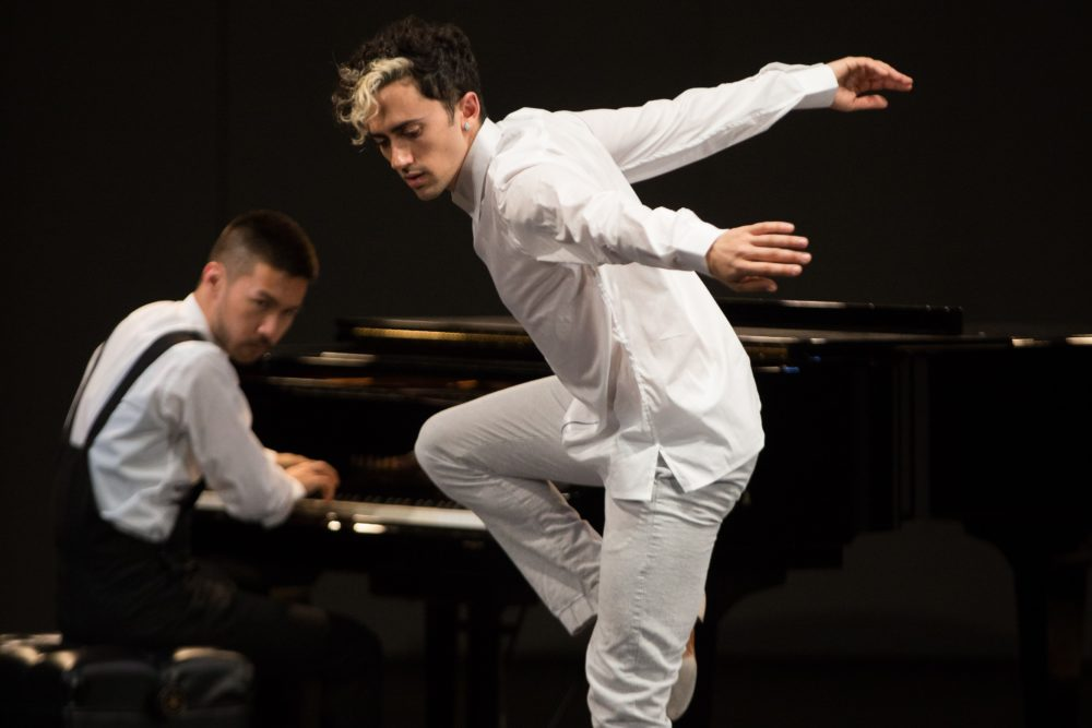 Composer and pianist Conrad Tao with dancer Caleb Teicher. (Courtesy Em Watson)