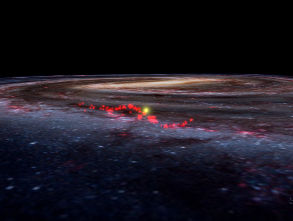 "Harvard scientists detail the discovery of the ""Radcliffe Wave,"" a structure made of continuous gas clouds in the Milky Way, in a new paper published in Nature. Here is the Radcliffe wave superimposed on an artist's rendering of Milky Way galaxy, taken from the Worldwide Telescope. (Courtesy Alyssa Goodman/Harvard University)"