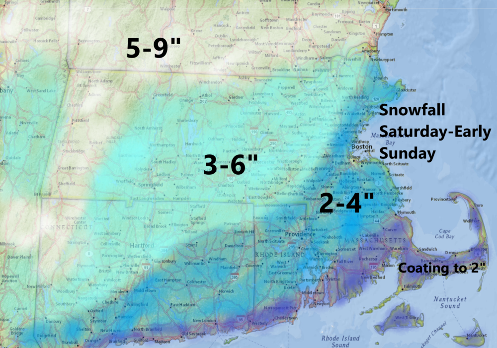 Snow falls heavy at times Saturday evening, but is over by Sunday morning. (Dave Epstein/WBUR)