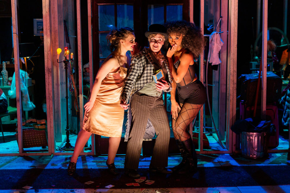 "Josephine Moshiri Elwood, Debra Wise, and Malikah McHerrin-Cobb in ""Vanity Fair"" at Central Square Theater. (Courtsey Nile Scott Studios)"
