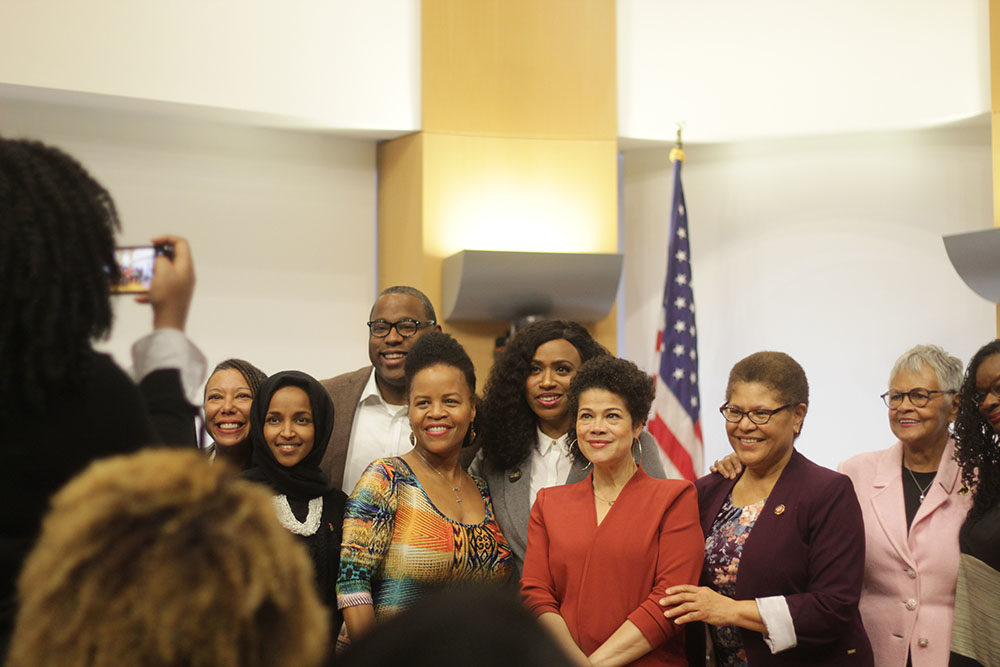 Members of the Congressional Black Caucus with Boston lawmakers on Saturday, Jan. 12, 2020. (Quincy Walters/WBUR)