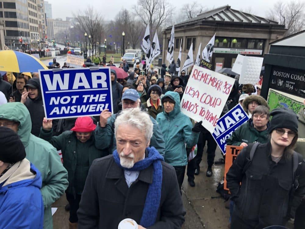 Anti-war demonstrators gather in near Park Street MBTA station in Boston on Janurary 4 in response to the killing of Iranian Maj. Gen. Qassem Soleimani. (Bruce Gellerman/WBUR)
