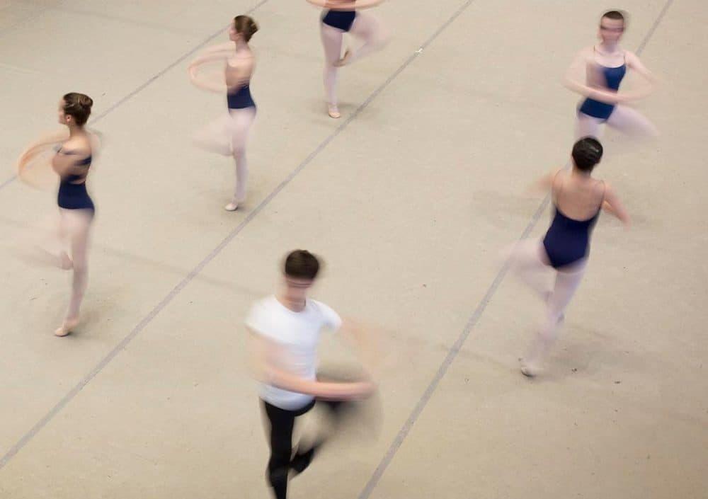 Students at José Mateo Ballet Theatre practice in Cambridge in March, 2018. (Robin Lubbock/WBUR)