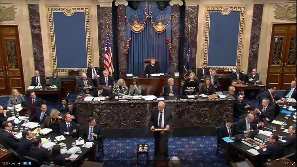 In this screengrab taken from a Senate Television webcast, Legal Counsel for President Donald Trump Ken Starr speaks during impeachment proceedings against U.S. President Donald Trump in the Senate at the U.S. Capitol on January 27, 2020 in Washington, DC. (Senate Television/Getty Images)