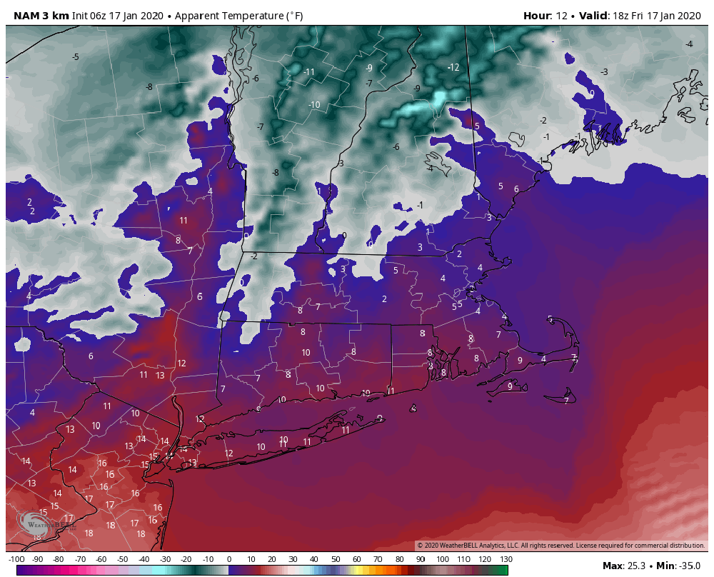 Wind Chill values above during Friday afternoon will be low. (Courtesy WeatherBell)