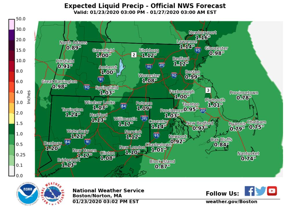 Rain heavy at times arrives Saturday night. (Courtesy NOAA)