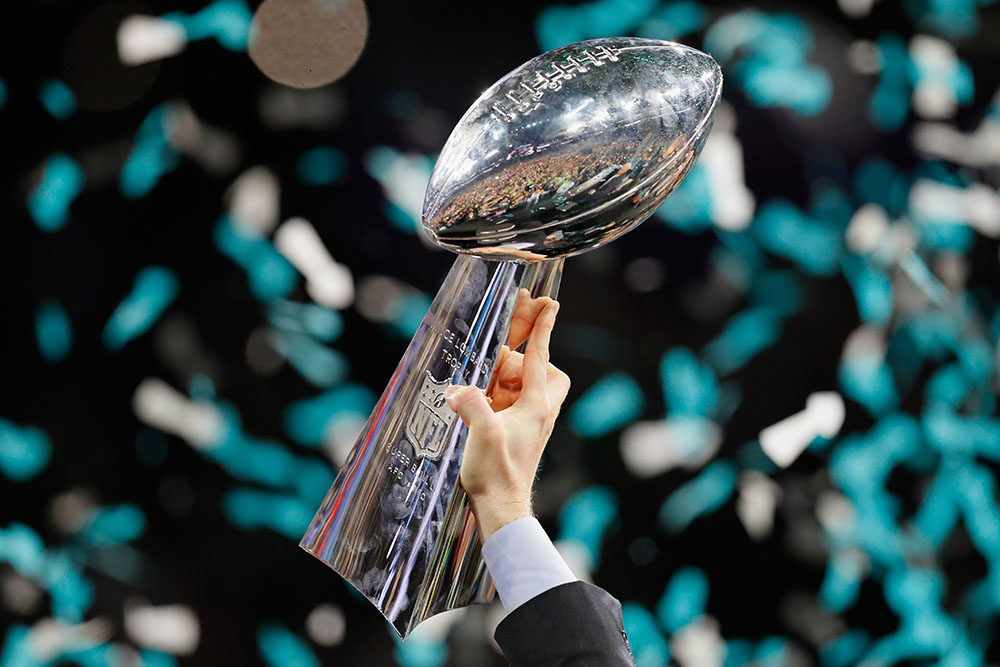 A view of the Vince Lombardi trophy after the Philadelphia Eagles 41-33 victory over the New England Patriots in Super Bowl LII at U.S. Bank Stadium on February 4, 2018 in Minneapolis, Minnesota. (Kevin C. Cox/Getty Images)