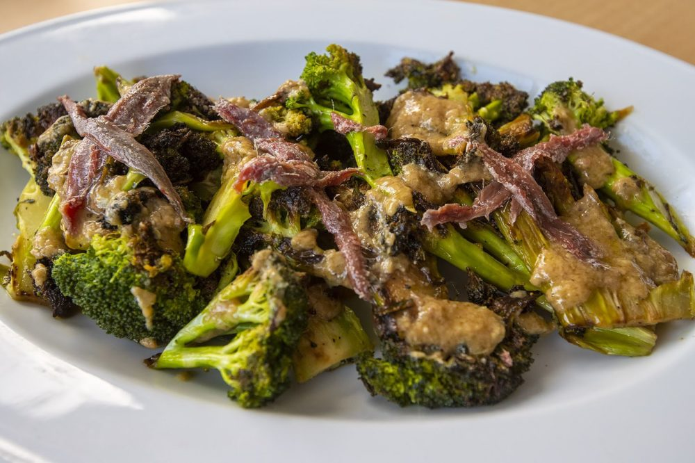 Broccoli salad with an anchovy miso dressing. (Jesse Costa/WBUR)