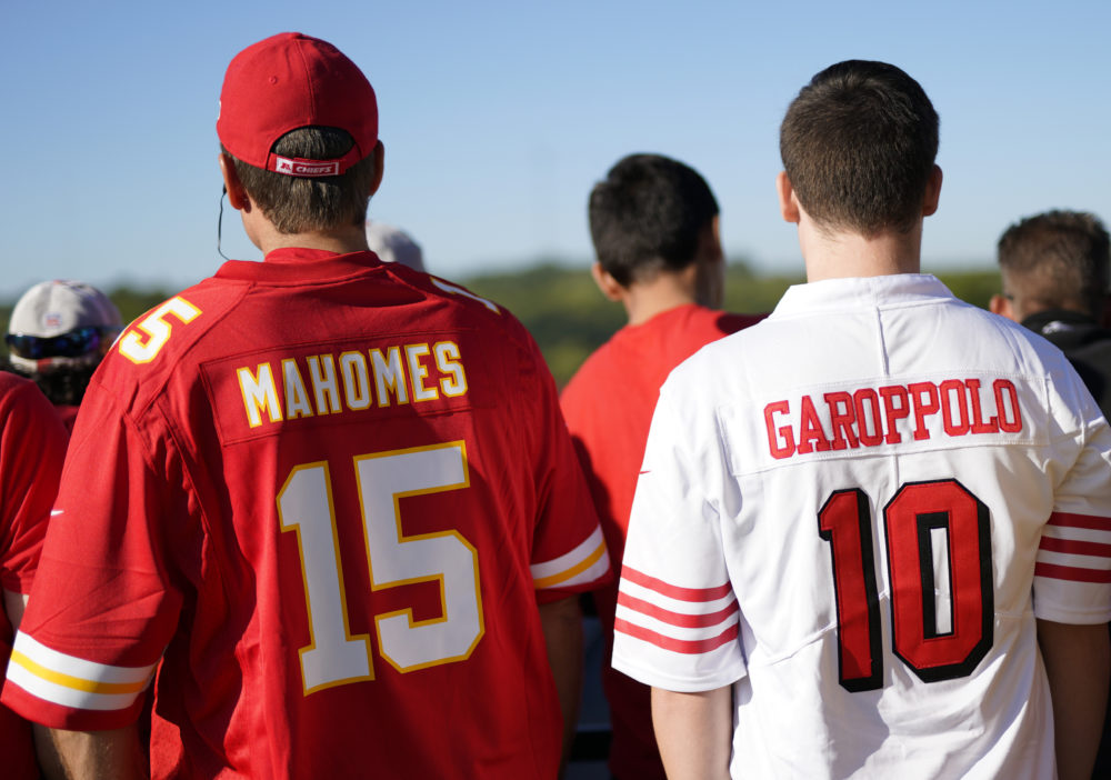 Fans wearing the jerseys of San Francisco 49ers quarterback Jimmy Garoppolo and Kansas City Chiefs quarterback Patrick Mahomes (Nati Harnik/AP)