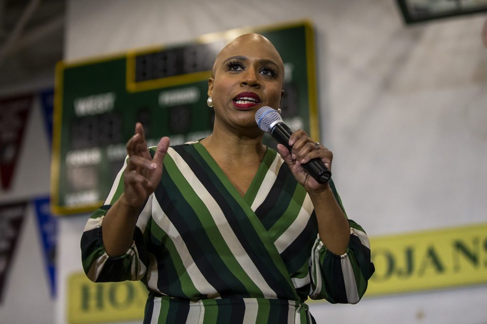 US Congresswoman from Mass. Ayanna Pressley speaks to a group of  Elizabeth Warren supporters at a campaign event at West High School in Iowa City. (Jesse Costa/WBUR)