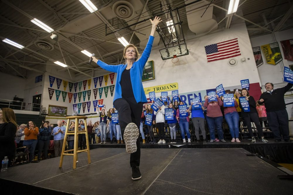 Presidential candidate Elizabeth Warren finishes her campaign event at West High School in Iowa City on Saturday. (Jesse Costa/WBUR)