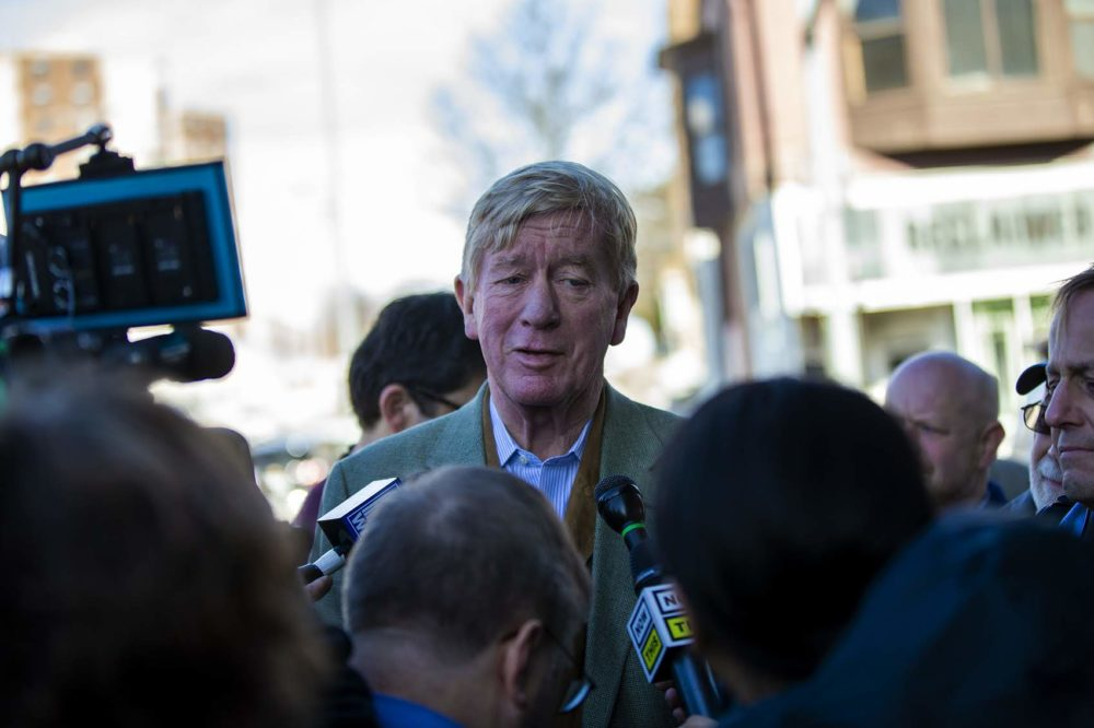 Presidential candidate and former Governor of Mass. William Weld speaks with press outside of RAYGUN in Des Maoines, IA. (Jesse Costa/WBUR)