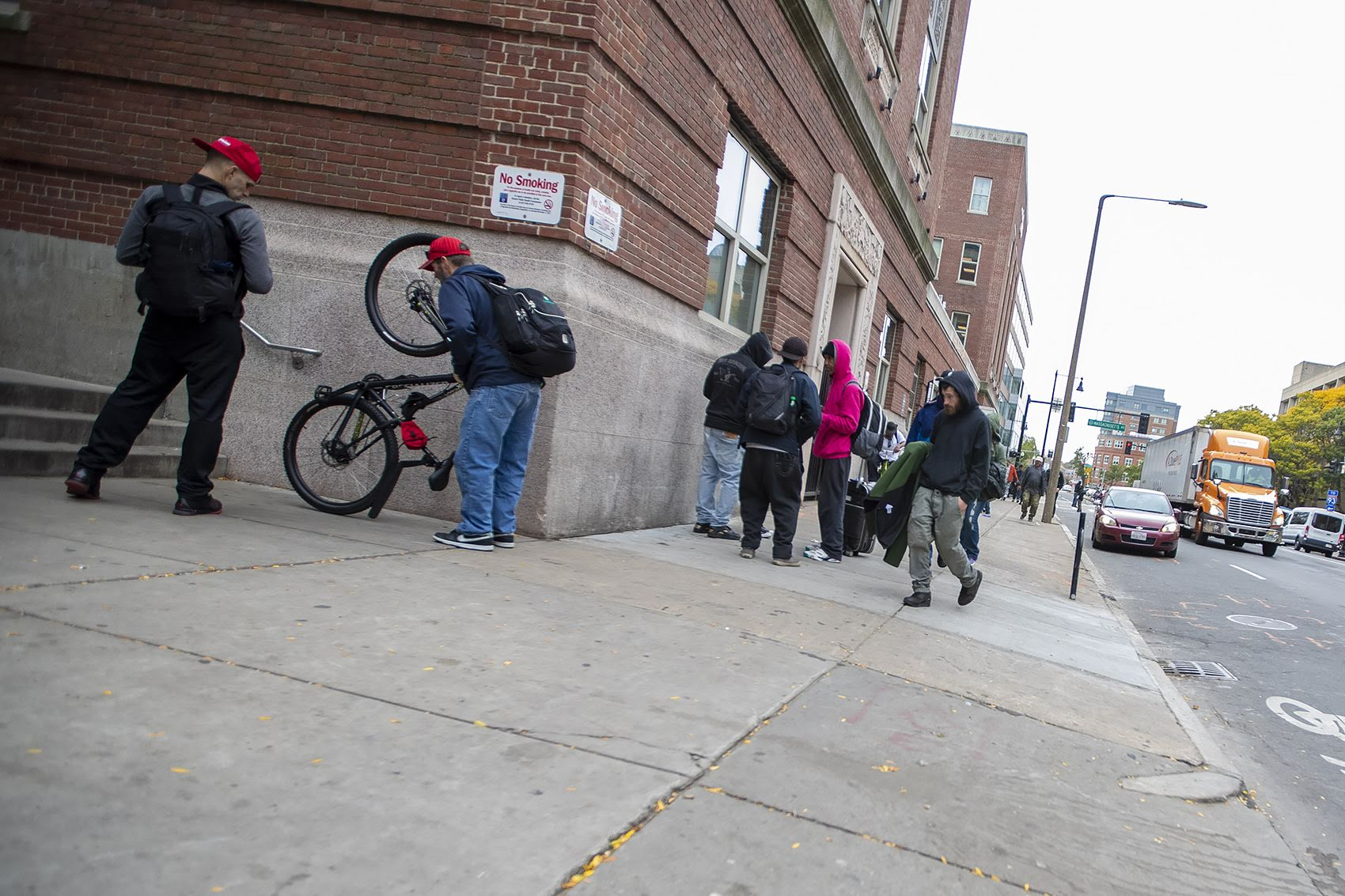 The scene in front of Boston Health Care for the Homeless Program on Albany Street in Boston. (Jesse Costa/WBUR)