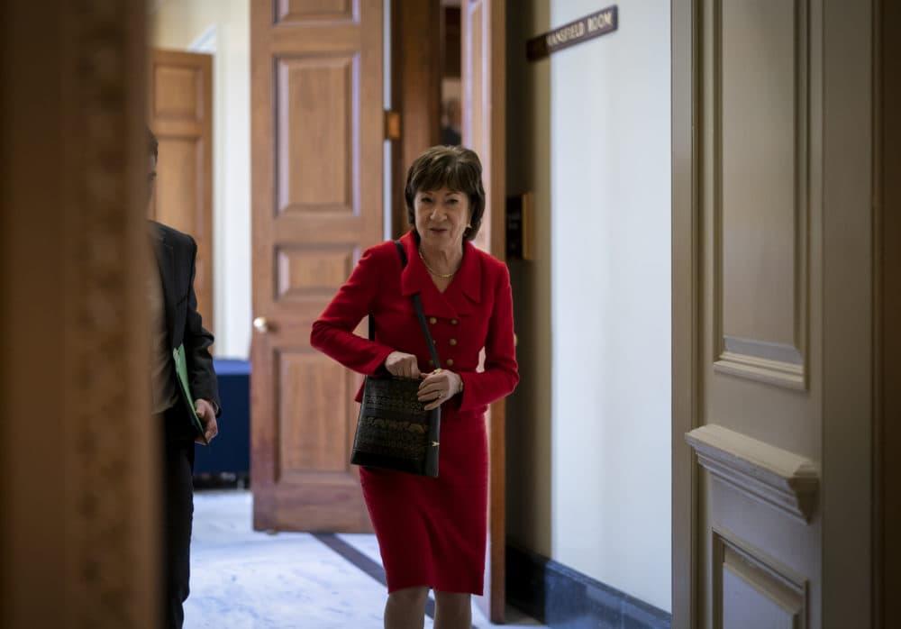 Sen. Susan Collins, R-Maine, departs as Republican senators leave a closed-door strategy session at the Capitol in Washington on Tuesday. (J. Scott Applewhite/AP)