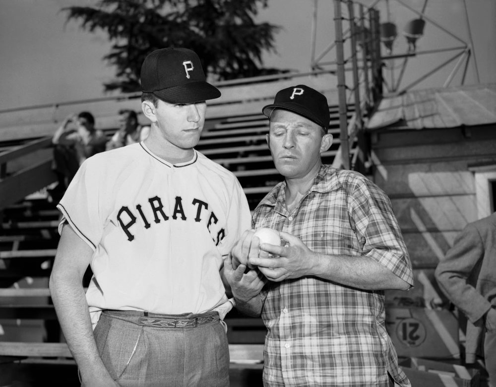 Paul Pettit (left) signed with the Pirates, who were partially owned by Bing Crosby (right). Some clubs suspected Bing Crosby had orchestrated a scheme involving a Hollywood bigwig to sign the pitching prospect. (David F. Smith/AP)