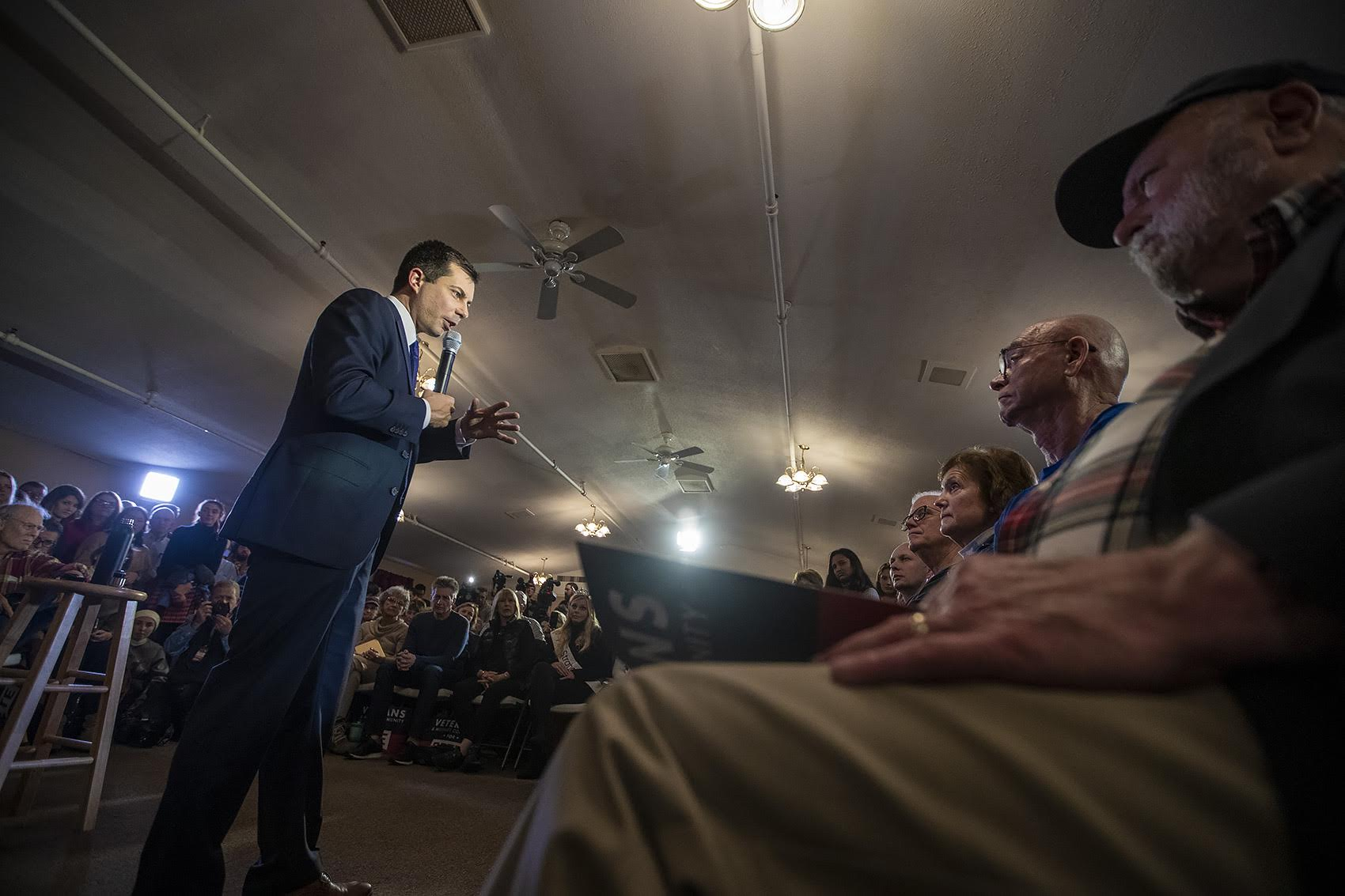 Presidential candidate Pete Buttigieg speaks to a room full of veterans at the Merrimack American Legion Post 98 in Merrimack, N.H. (Jesse Costa/WBUR)