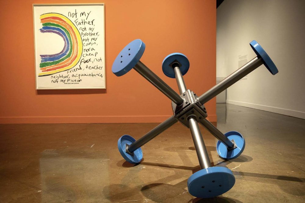 """Sable Elyse Smith's and """"Coloring Book 33"""" and """"Pivot."""" (Robin Lubbock/WBUR)"""