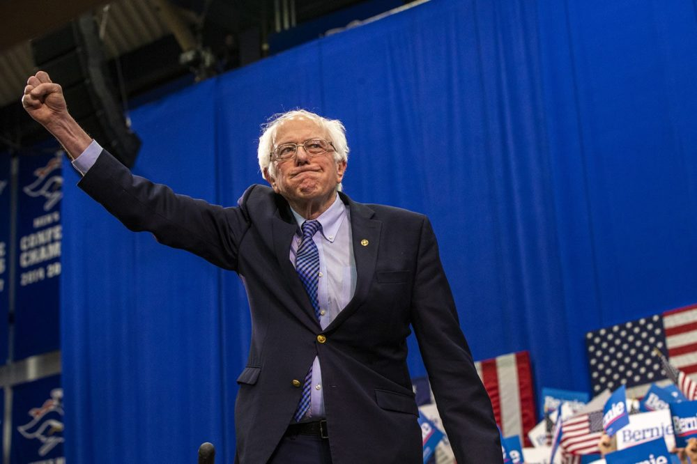 Presidential candidate Bernie Sanders raises his fist in victory to supporters during the New Hampshire primary. (Jesse Costa/WBUR)