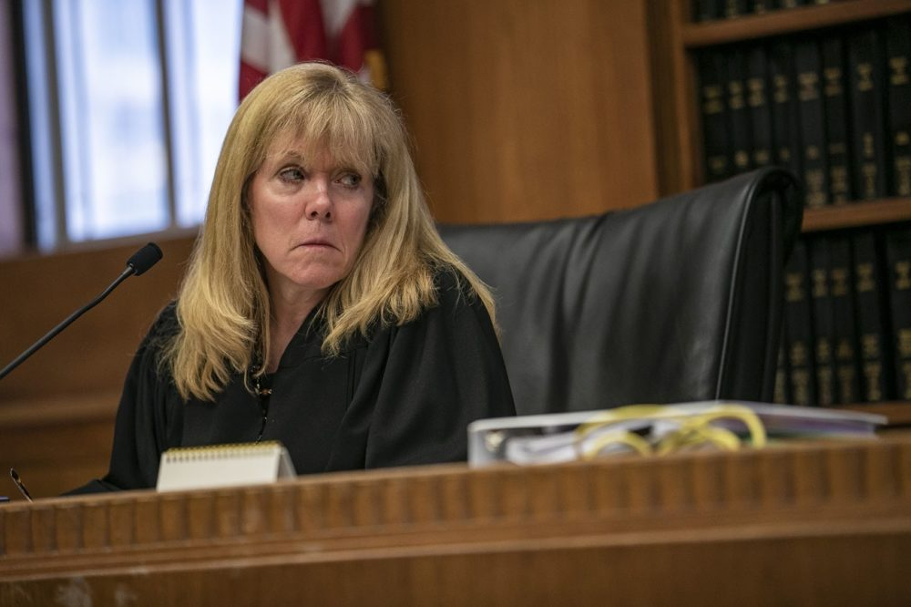 Judge Beverly Cannone listens to testimony from Souza-Baranowski Superintendent Steven Kenneway. (Jesse Costa/WBUR)