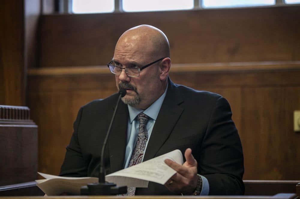 Souza-Baranowski Correctional Center Superintendent Steven Kenneway testifies in Suffolk Superior Court. (Jesse Costa/WBUR)