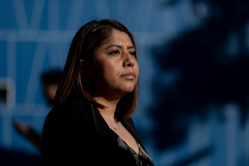 Erika Castro, DACA recepient and community organizer sits outside the East Las Vegas Library in Las Vegas, Nevada, on Feb. 19, 2020. (Krystal Ramirez for Here & Now)