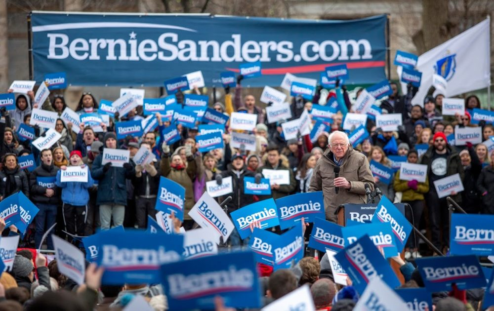 Bernie Sanders receives a warm welcome from supporters on a cold Boston Common. (Robin Lubbock/WBUR)