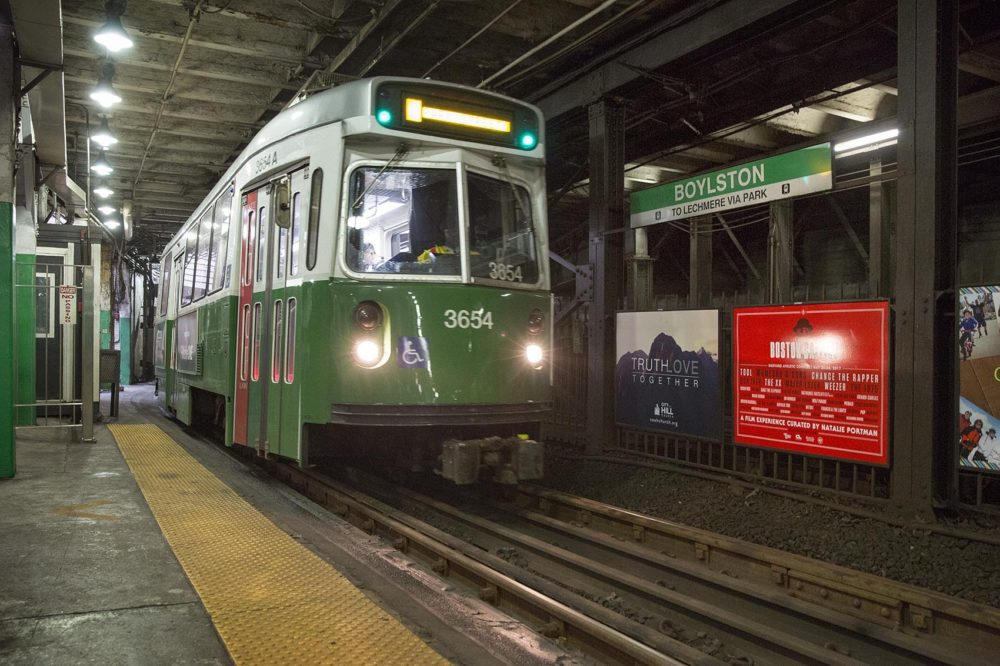 MBTA Green Line train at Boylston Station. (Robin Lubbock/WBUR)
