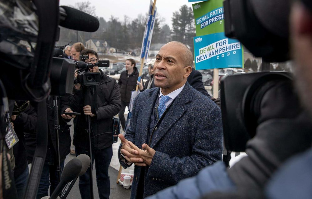Deval Patrick talks with reporters outside a polling station in Nashua, N.H. (Robin Lubbock/WBUR)