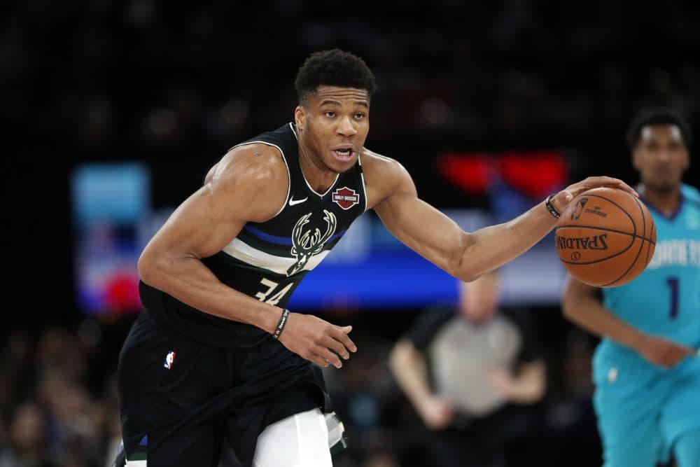 Milwaukee Bucks forward Giannis Antetokounmpo in action during NBA game against Charlotte Hornets. (Thibault Camus/AP)