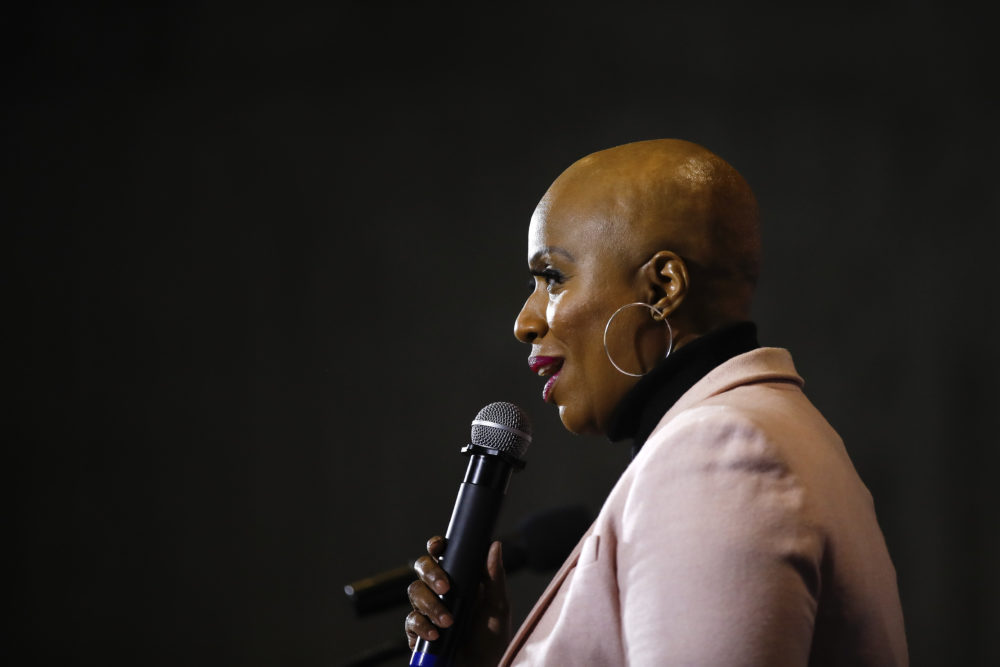 Rep. Ayanna Pressley, D-Mass., speaks as a surrogate of Democratic presidential candidate Sen. Elizabeth Warren, D-Mass., during a campaign event, Jan. 31, 2020, in Ames, Iowa. (Matt Rourke/AP)