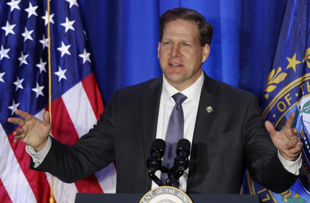 New Hampshire Gov. Chris Sununu speaks at a Cops for Trump rally, Monday, Feb. 10, 2020, in Portsmouth, N.H. (Robert F. Bukaty/AP)