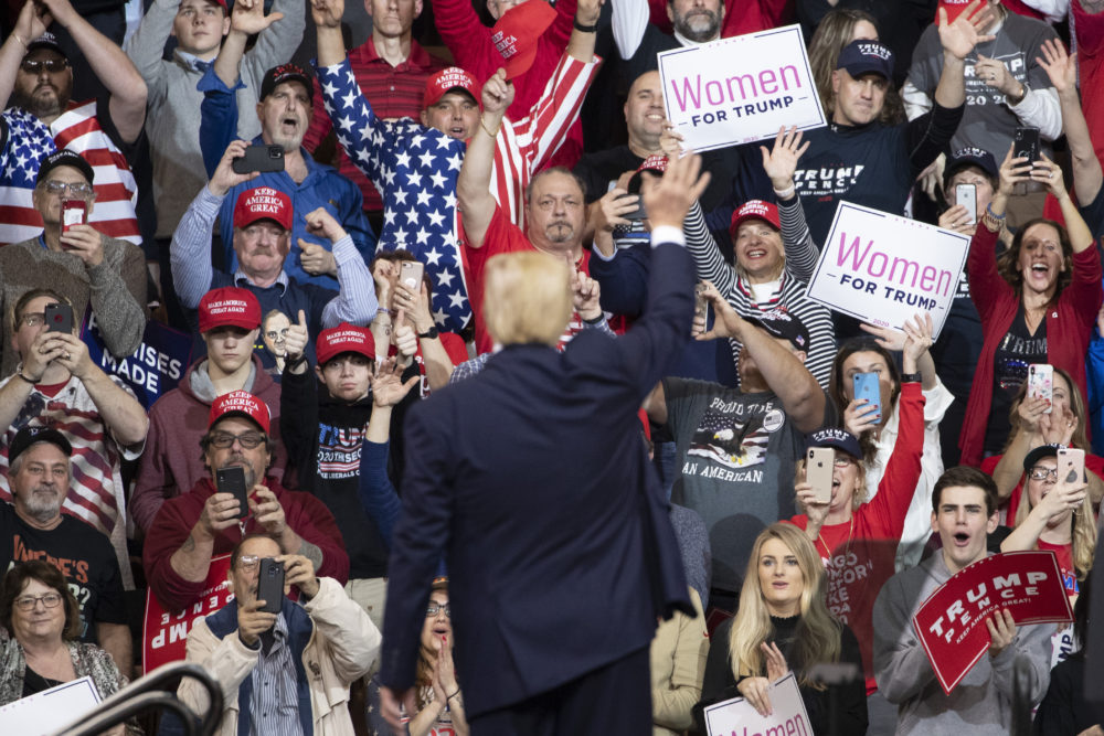 President Donald Trump waves at the audience as he leaves the stage during a campaign rally, Monday, Feb. 10, 2020, in Manchester, N.H. (AP Photo/Mary Altaffer)