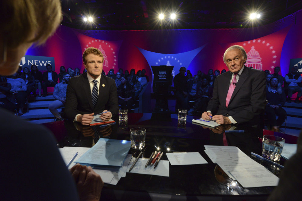 U.S. Rep. Joe Kennedy III, D-Mass, left, and Sen. Ed Markey, right, square off in the first senate primary debate hosted by WGBH News on Tuesday at the WGBH Studios in Boston. (Meredith Nierman/WGBH via AP, Pool)