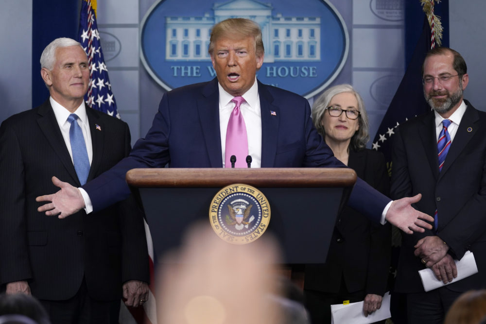 President Donald Trump, with members of the president's coronavirus task force, speaks during a news conference in the Brady Press Briefing Room of the White House, Wednesday, Feb. 26, 2020, in Washington. (Evan Vucci/AP)