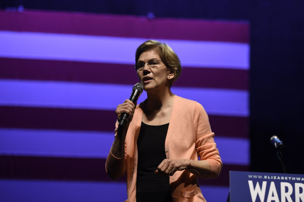 Democratic presidential hopeful Elizabeth Warren speaks at a get-out-the-vote rally on Feb. 26, 2020, in Charleston, S.C. (Meg Kinnard/AP)