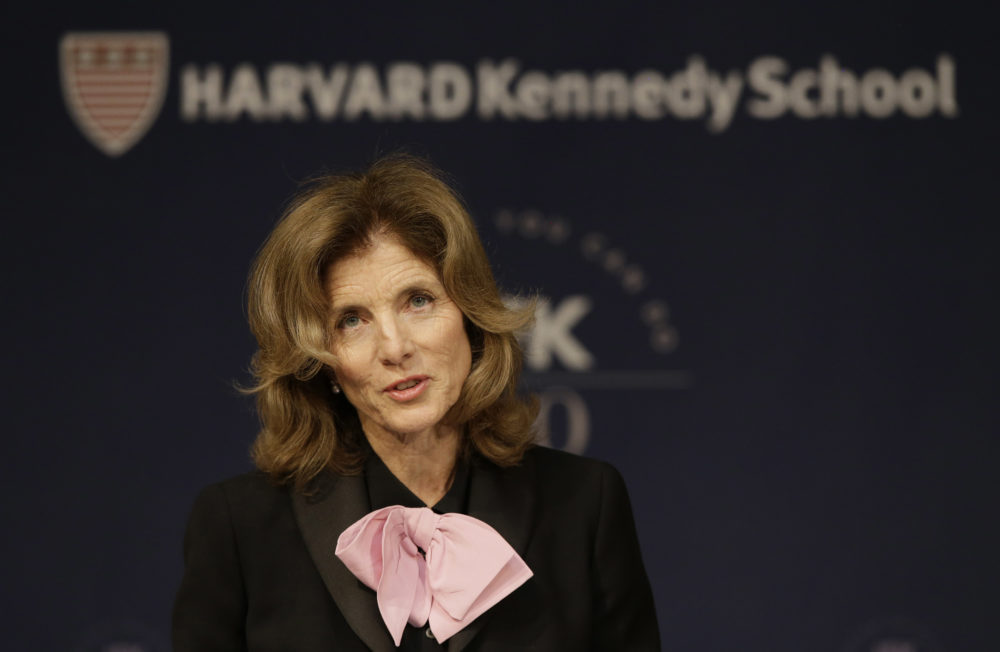 Former U.S. Ambassador to Japan Caroline Kennedy speaks about her father as she kicks off the John F. Kennedy Centennial Symposium at the Harvard Kennedy School April 20, 2017, in Cambridge, Mass. (Stephan Savoia/AP)