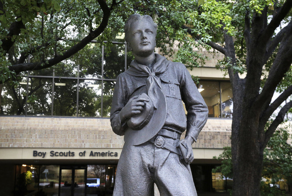 A statue stands outside the Boys Scouts of America headquarters in Irving, Texas. (AP Photo/LM Otero)