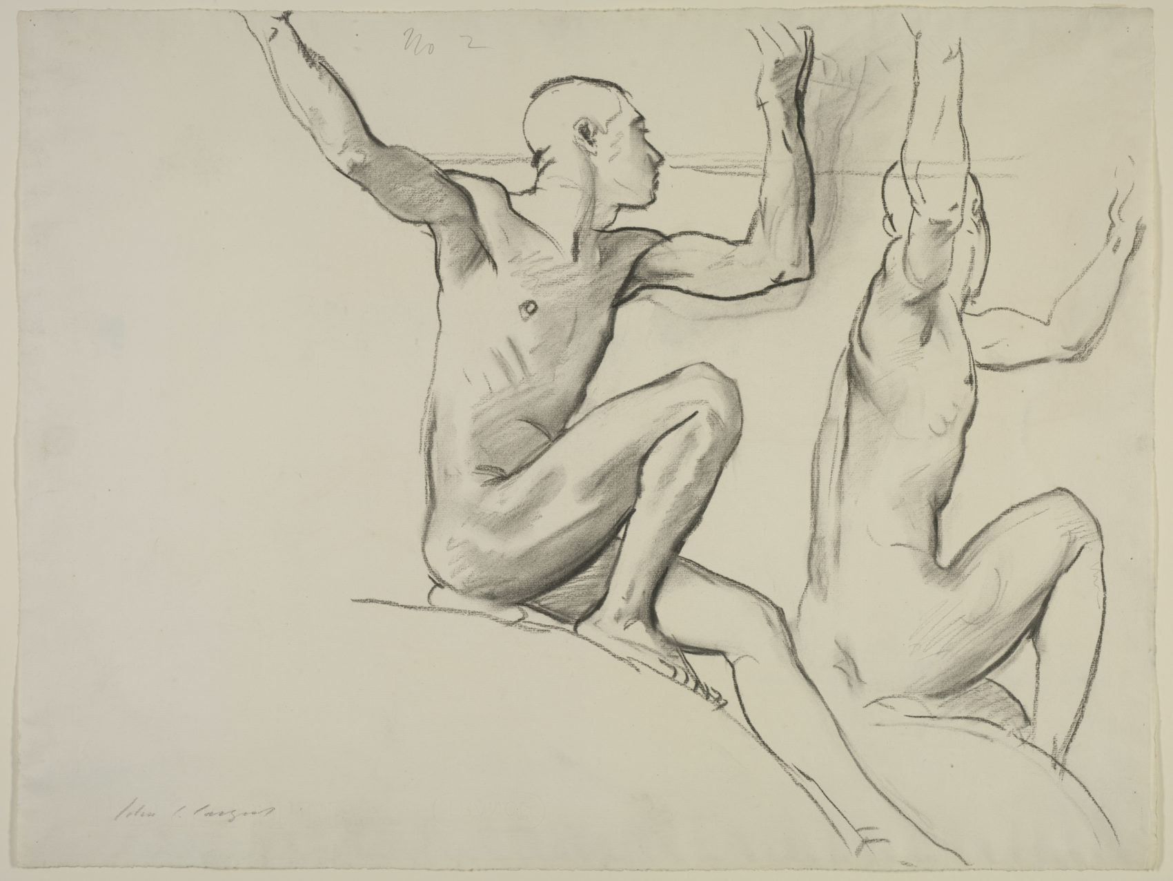 John Singer Sargent, Study of Two Male Nudes for a Cartouche for the Rotunda of the Museum of Fine Arts, Boston. (Courtesy Isabella Stewart Gardner Museum)