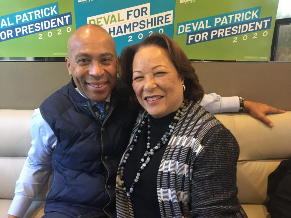 Deval and Diane Patrick sitting on the Patrick campaign bus in Greenland, New Hampshire. (Nancy Eve Cohen/NEPR)