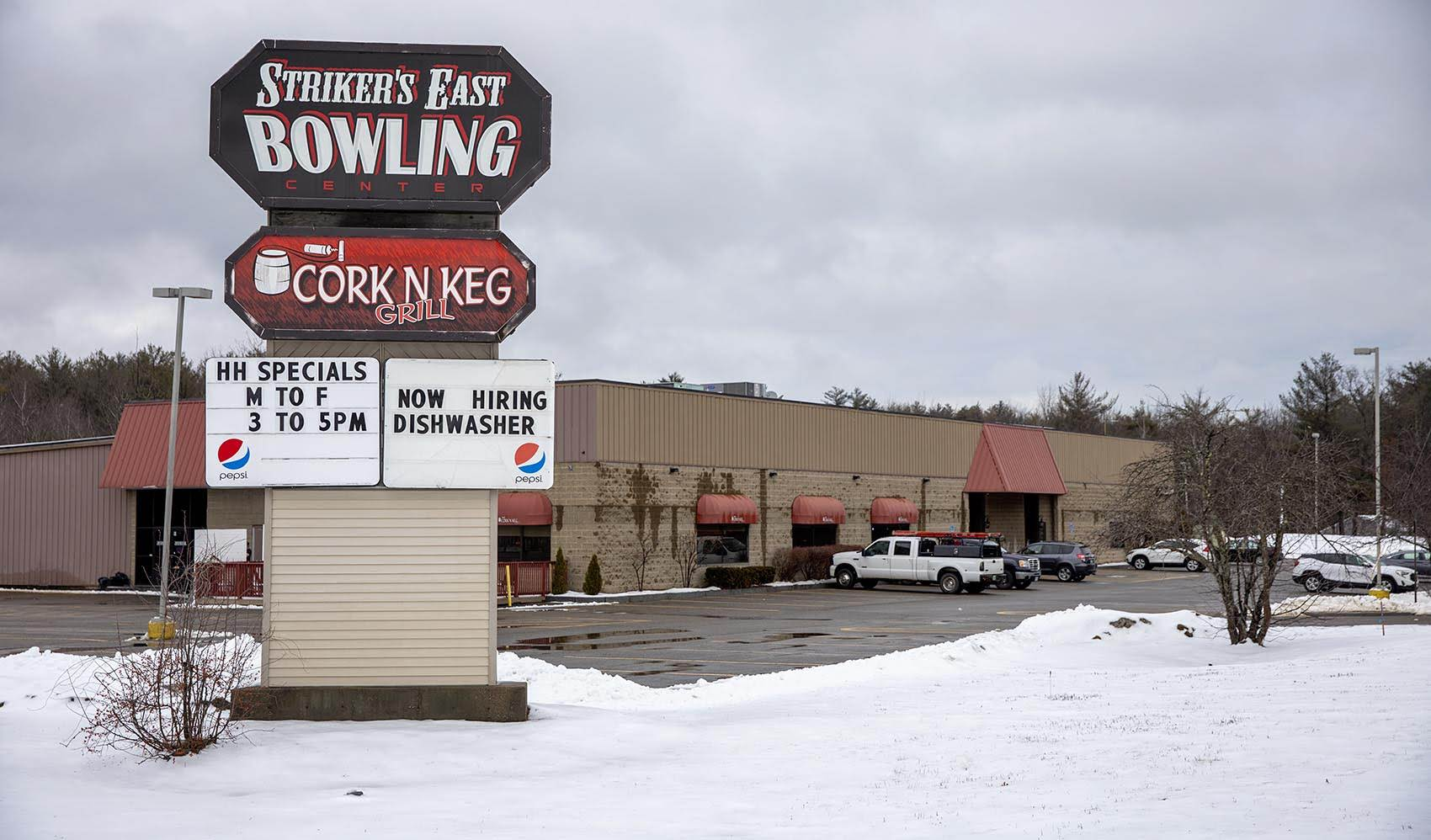 Striker's East Bowling Center in Raymond, NH. (Robin Lubbock/WBUR)