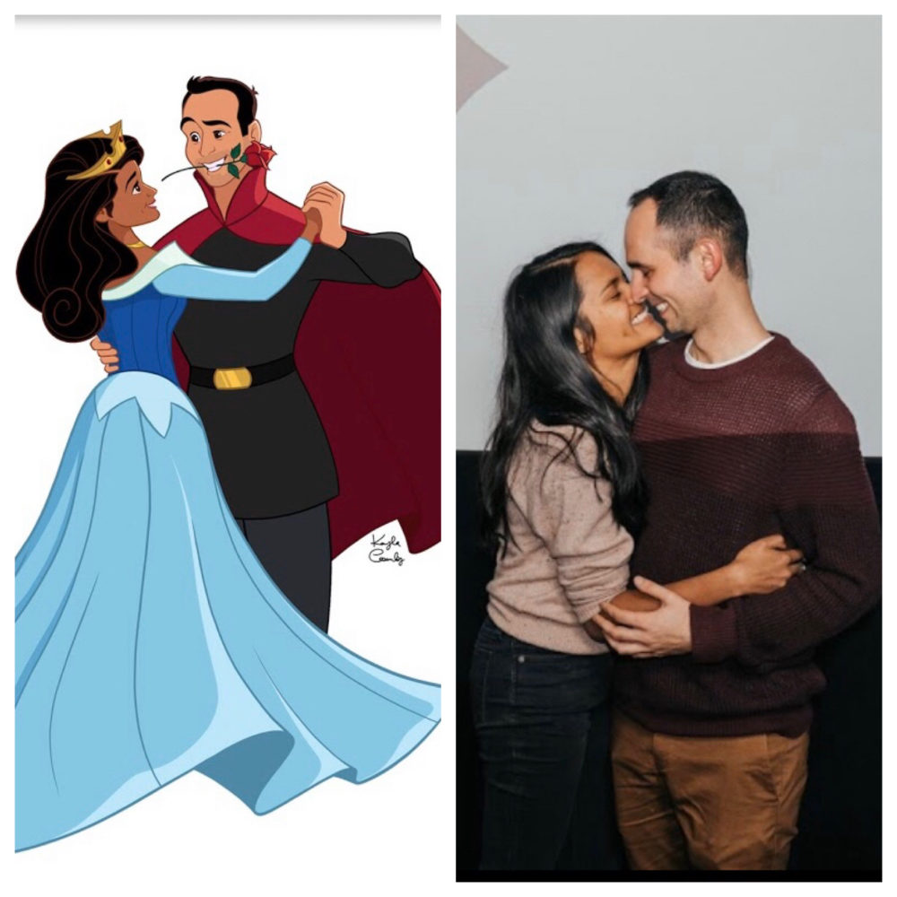 "(Left) Sthuthi David and Lee Loechler as illustrated by Kayla Coombs. (Right) Sthuthi and Lee at the Coolidge Corner Theatre in Brookline, Mass. after getting engaged during a screening of ""Sleeping Beauty."" (Courtesy Jaclyn and Andrew Taylor)"