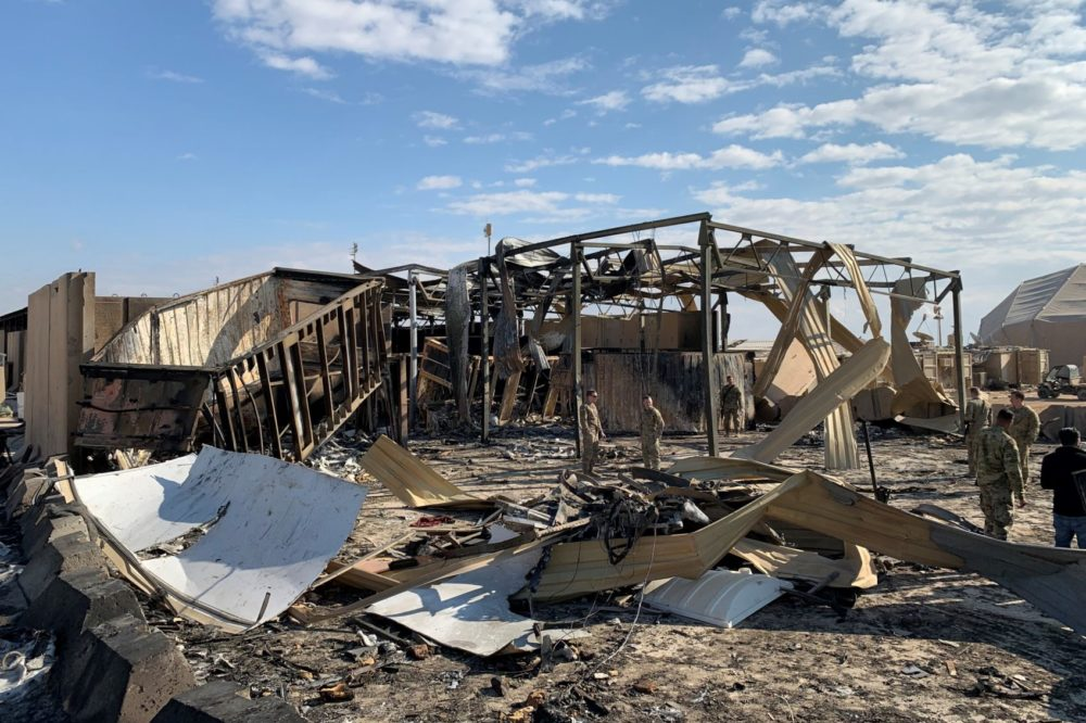A view of the damage at Ain al-Asad military airbase housing U.S. and other foreign troops in the western Iraqi province of Anbar, Iraq. (Ayman Henna/AFP/Getty Images)