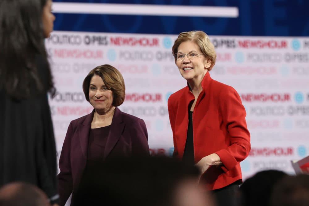 Sen. Elizabeth Warren and Sen. Amy Klobuchar.(Justin Sullivan/Getty Images)