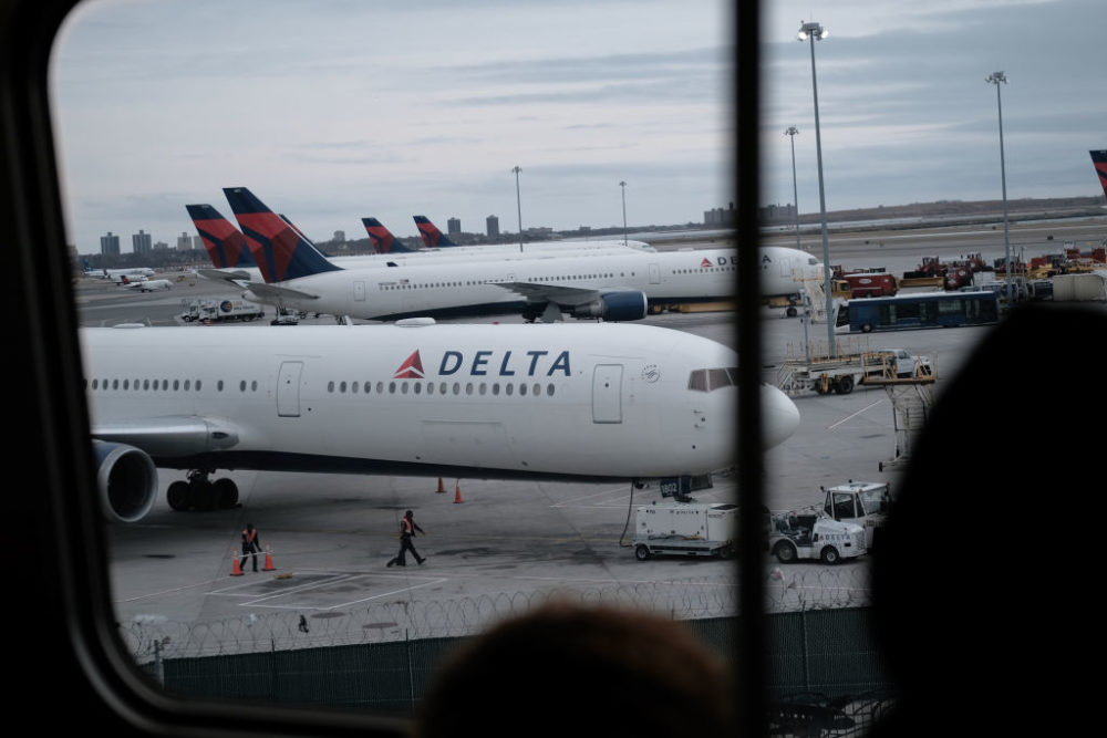 Delta airplanes sit on the tarmac at John F. Kennedy airport. (Spencer Platt/Getty Images)