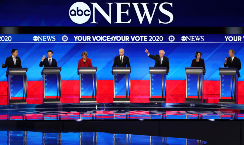 Presidential candidates participate in the Democratic presidential primary debate on February 7, 2020 in Manchester, New Hampshire. (Joe Raedle/Getty Images)