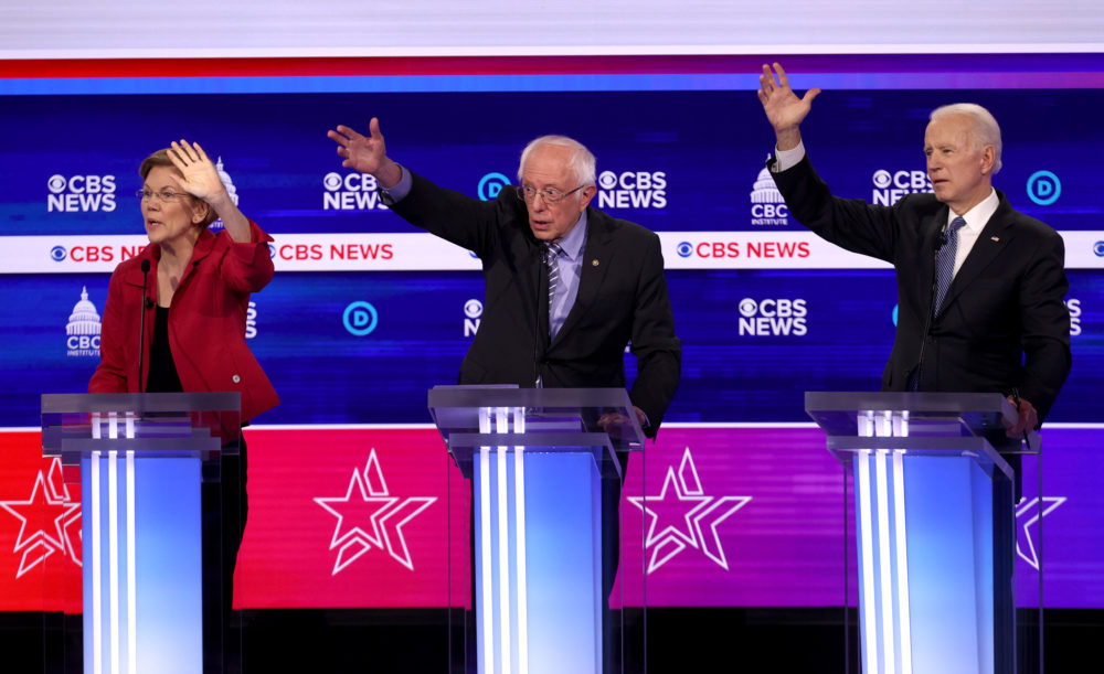 Democratic presidential candidates (L-R) Sen. Elizabeth Warren (D-MA), Sen. Bernie Sanders (I-VT) and former Vice President Joe Biden participate the Democratic presidential primary debate at the Charleston Gaillard Center on February 25, 2020 in Charleston, South Carolina. (Win McNamee/Getty Images)