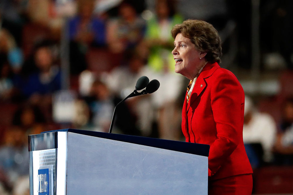 """""""The projection from the secretary of state in New Hampshire is that we were going to have a record turnout here even higher than 2016 when we had primary fights on both sides of the ticket,"""" Sen. Shaheen tells host Robin Young. """"I think that means that Democratic voters are very excited here."""" (Aaron P. Bernstein/Getty Images)"""