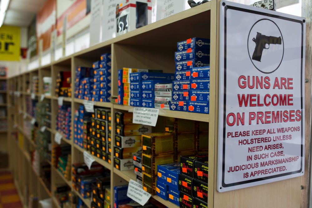 Ammunition boxes are for sale at a gun shop in Merrimack, N.H. (Dominick Reuter/AFP via Getty Images)