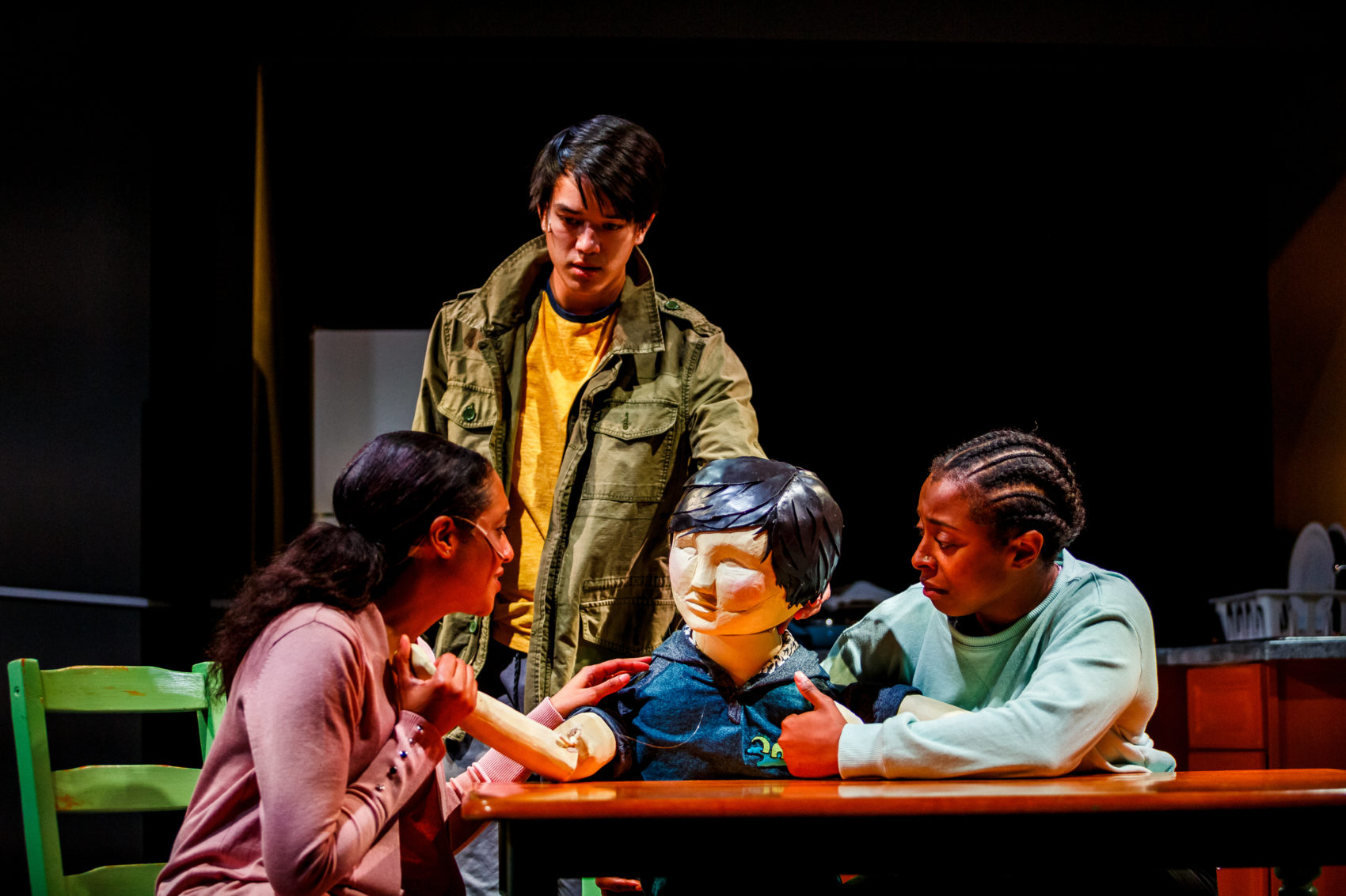 "Left to right, Inés de la Cruz as Robin, Minh-Anh Day as Wolf/Jeenu and Tonasia Jones as Ash in ""Wolf Play."" (Courtesy Andrew James Wang)"