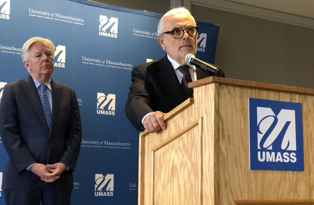 Dr. Marcelo Suárez-Orozco— here flanked by UMass president Marty Meehan (left) — was named the next chancellor of UMass Boston on Monday afternoon. (Max Larkin/WBUR)